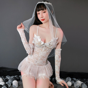 Sexy Women Bride Wedding Dress Veil Sling Erotic Cosplay Costumes Porn Lace Skirt Sex Lingerie Porno Uniforms Headdress Set