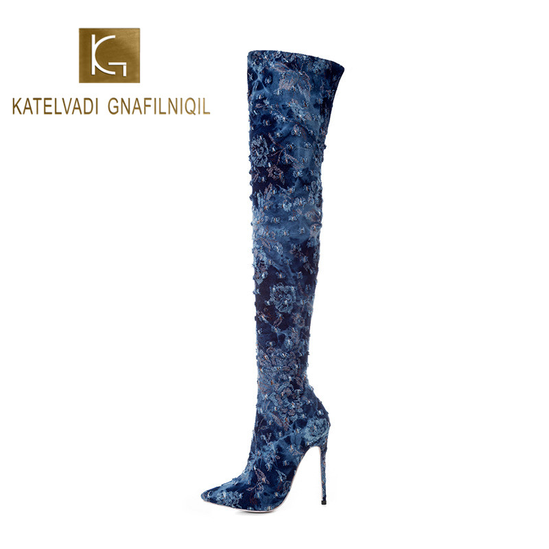 KATELVADI 2020 New Arrival Shoes Women Boots Dark Blue Denim Over the Knee Sexy Female Winter Lady Thigh High K-583