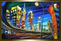 handmade painting knife painting cityscape painting Leonid Afremov canvas wall art modern living room decorative paintings