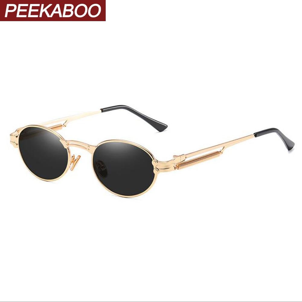Peekaboo Gold Retro Round Sunglasses Vintage Men 2020 Summer Metal Punk Sun Glasses For Women Oval Anti Blue Light Uv400 Unisex
