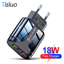 Tisluo USB Charger Quick Charge 3.0 Universal Wall Mobile Phone Charger for iPhone Samsung Xiaomi 3 Port Fast Charging Adapter