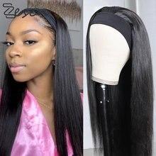 Zesen 20 22 24 26 28 30 polegada longa reta bandana perucas resistente ao calor peruca de cabelo sintético máquina feita peruca para preto