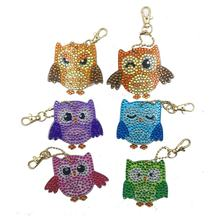 Owl Design Diy Diamond Keychains Painting Christmas Gift Full Drill Keyring Girl Jewelry Keyring(China)