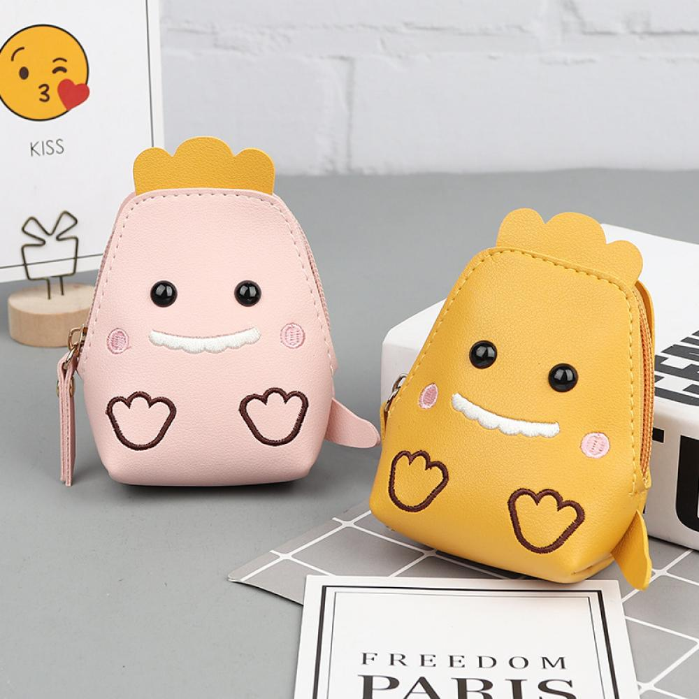Creative New Cartoon Cute Chick Coin Purse Pu Leather Key Bag Multifunctional Storage Bag Ladies Wallet Coin Bag(China)
