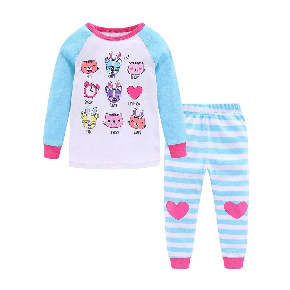 Mudkingdom Girls Boys Pajama Set Long Sleeve Cute Cartoon Printing Kids Sleepwear Home Set Children Clothes 3