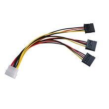1pc 4 pinos ide molex para 3 serial ata sata power splitter cabo de extensão conectores conexão do computador e plugin