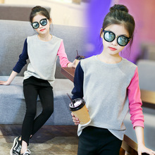 T-Shirt Girls Clothing Children Long-Sleeve 12-Years Patchwork Autumn 7 9-10 Casual 6