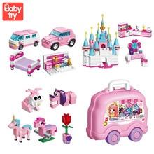 цена на 690PCS DIY Building Bricks Castle Creative Gift Storage Box Compatible Legoed Girl Friends Classic Blocks Toys For Children 2905