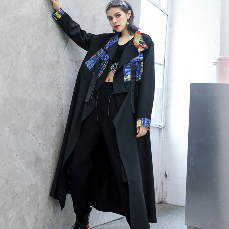 Handsome Spliced Plus Size Long   Trench   For Women Tide Print Streetwear Vintage Casual Female Wide Waisted Coat 2019 SA397S30