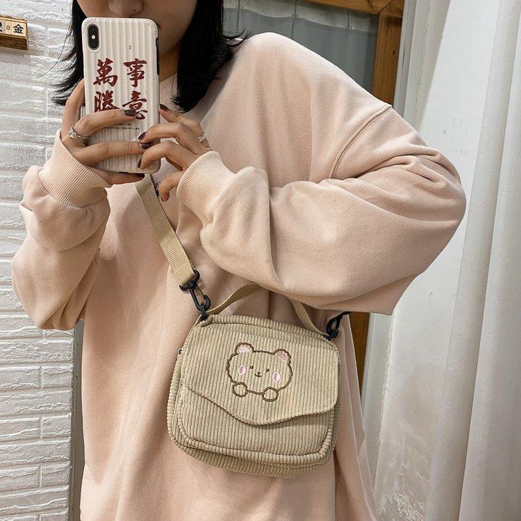 Cute Vintage Corduroy Bear Bag  2