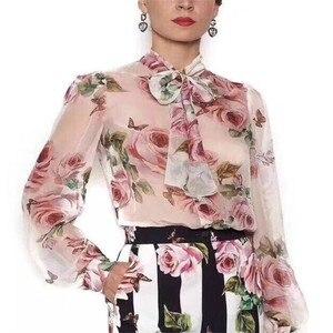 Image 2 - ニューデリー reba スターシックなブラウス牡丹プリント薄型シフォンホーン袖シャツサイズ s 3xl
