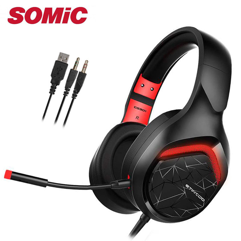 Gaming Headset Earphones & Headphone with Microphone Brand Somic Original gamer 3.5mm USB 301 image