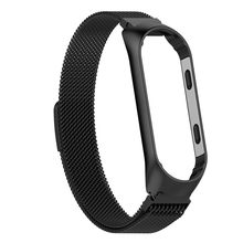 MNYCXEN watch band Magnetic Stainless Wristband Wrist Strap For Xiaomi Mi Band 3 Watch Bracelet SmartWatch Replacement Strap(China)