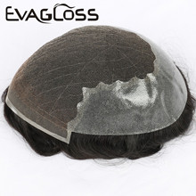 EVAGLOSS 100%Human Hair Durable Hairpieces Swiss Lace & Thin PU Replacement System For Men Q6 Base Toupee Mens Wig