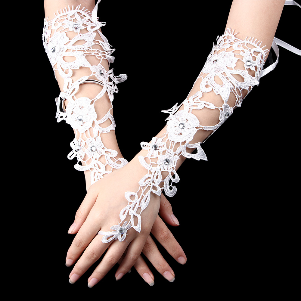 New White Bridal Indoor Decoration Prom Sexy Lace Flower Rhinestones Fingerless Gloves Wedding Party