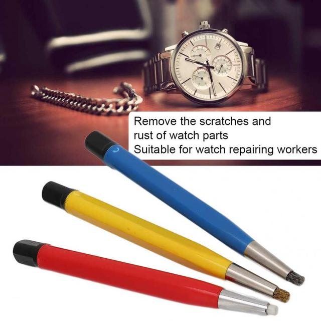 3 pçs/set Assista Acessórios Peças Escova de Remoção de Ferrugem Caneta Peças de Relógio Relógio Ferramenta De Polimento Caneta Remoção de Arranhões para relojoeiro