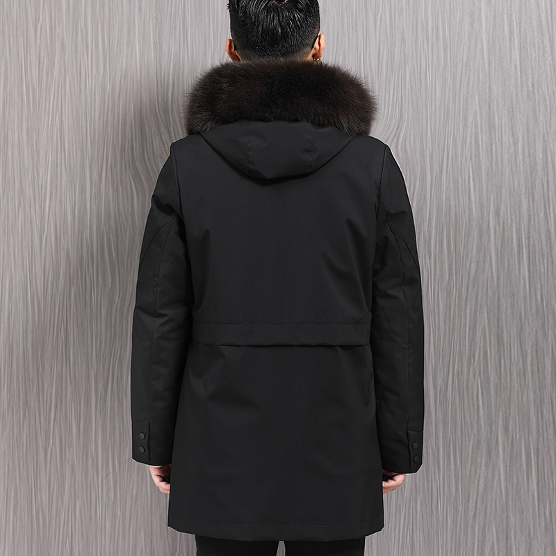 Winter Real Fur Coat Men Parka Fox Fur Collar Jacket Mink Fur Liner Warm Parkas Men Overcoat Fur Jacket 26-9817173 YY322