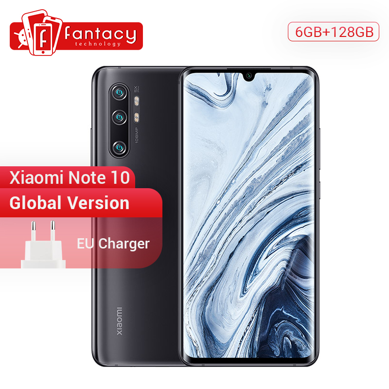 In Stock Global Version Xiaomi Mi Note 10 6GB 128GB 108MP Penta Camera Snapdragon 730G Octa-core Cellphone 6.47'' Curved 5260mAh