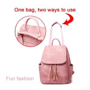 Image 2 - Pink Vintage Backpack Women Back Pack Leather Bag Tassel Female Bagpack Student Girl Teenager Backpack Feminina 2020 sac a dos