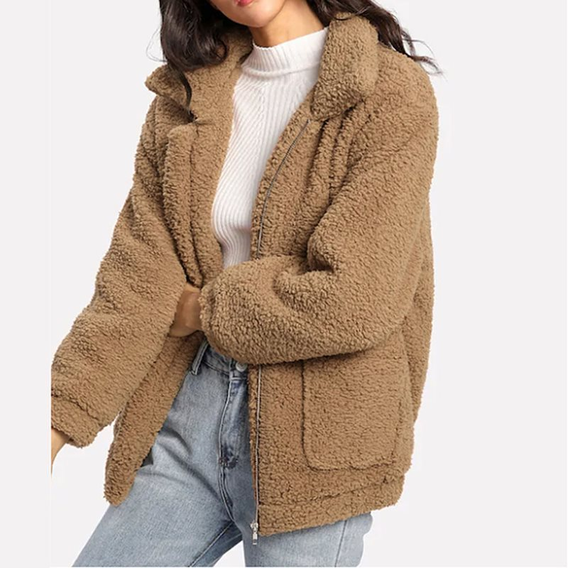 Jacket Coat Solid-Color Winter Plus-Size Woman Warm Thick Zipper Nine-Point-Sleeve shirt