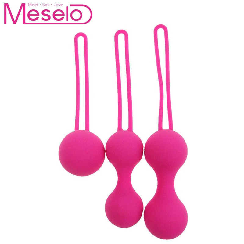 Meselo <font><b>3</b></font> <font><b>in</b></font> <font><b>1</b></font> Pink Silicone Gourd Shape Kegel Balls Vaginal Tight Ball Exercise Beads <font><b>Sex</b></font> <font><b>Toys</b></font> For Woman Masturbator Geisha Ball image