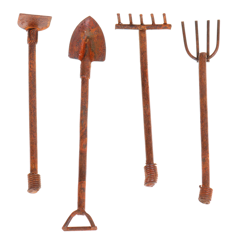 Miniature Dollhouse Set of 4 Garden Tools Fairy Garden Accessories 1:12 Toy