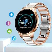 LIGE Neue Keramik Smart Uhr Frauen Herz Rate Blutdruck Monitor Für Android IOS Sport Multifunktionale Stahl Gürtel Smartwatch