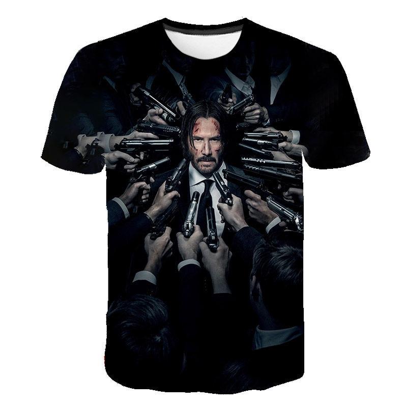 2020 Summer John Wick 3D Printed T-shirt Men Women Short Sleeves Tshirt Keanu Reeves Cool Movie T Shirt Male Cool Streetwear Tee