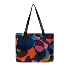 Ladies geometric print zipper handbag Large capacity waterproof nylon travel shoulder bag cize 42cm * 28cm 8cm