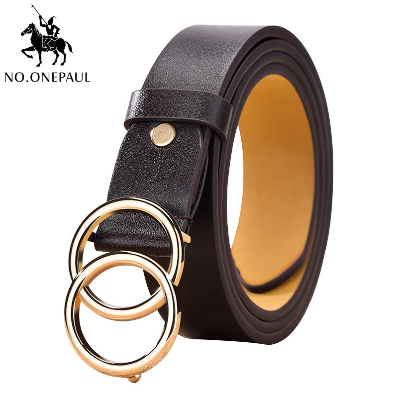 NO.ONEPAUL Designer's Circle Buckle Girl Jeans Dress Wild Belts Famous Brand Leather High Quality Belt Fashion Alloy Double Ring