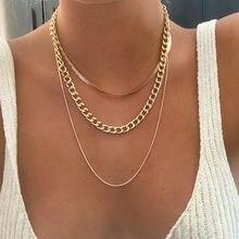 Moda altın renk yılan zincir kolye kadın kızlar için 2021 Vintage çok katmanlı zincir klavikula gerdanlık kolye kadın mücevheratı