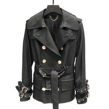 Chaqueta de piel auténtica para mujer, gabardina larga clásica de primavera, con doble botonadura, chaqueta de cuero Real, cinturón