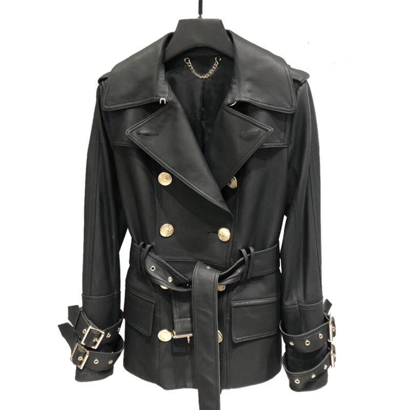 Women Genuine Leather Jacket Coat Spring Classical Long Trench Ladies Double Breasted Real Leather Jacket Belt