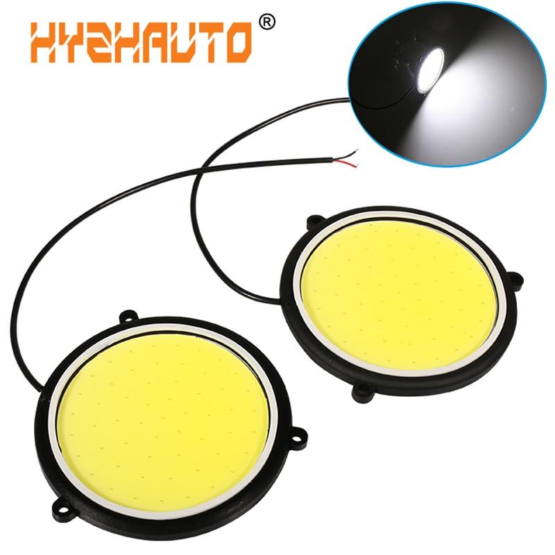 HYZHAUTO 2 шт. Высокая мощность COB DRL 88 мм круглые Автомобильные светодиодные дневные ходовые огни авто передняя противотуманная Лампа Белый 12 В