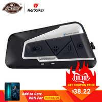 HEROBIKER 1200M BT Motorrad Helm Intercom Wasserdichte Drahtlose Bluetooth Moto Headset Sprech mit FM Radio für 2 Fahrten
