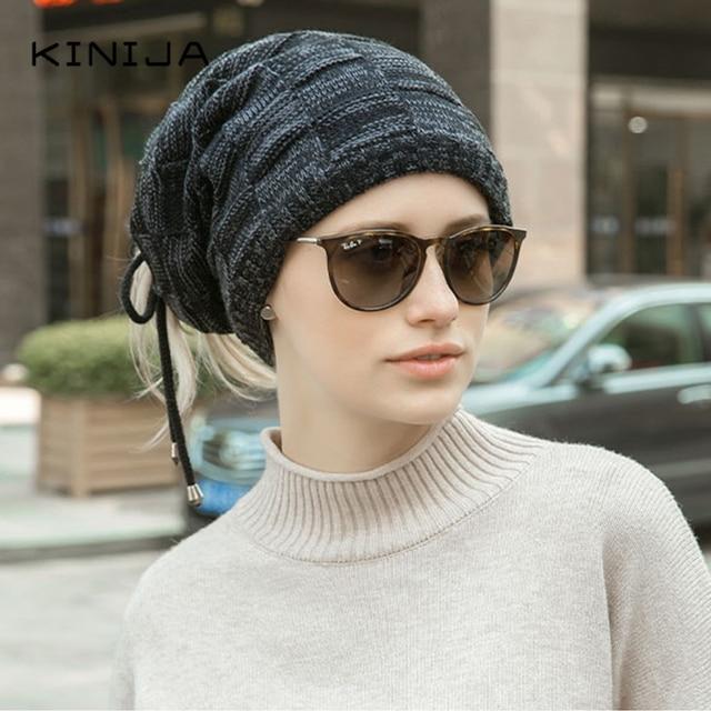 Hat scarf dual purpose set women Autumn Beanies fleece hat Knitted Plush Wool Cap Winter men Outdoor Windproof protect face neck 5