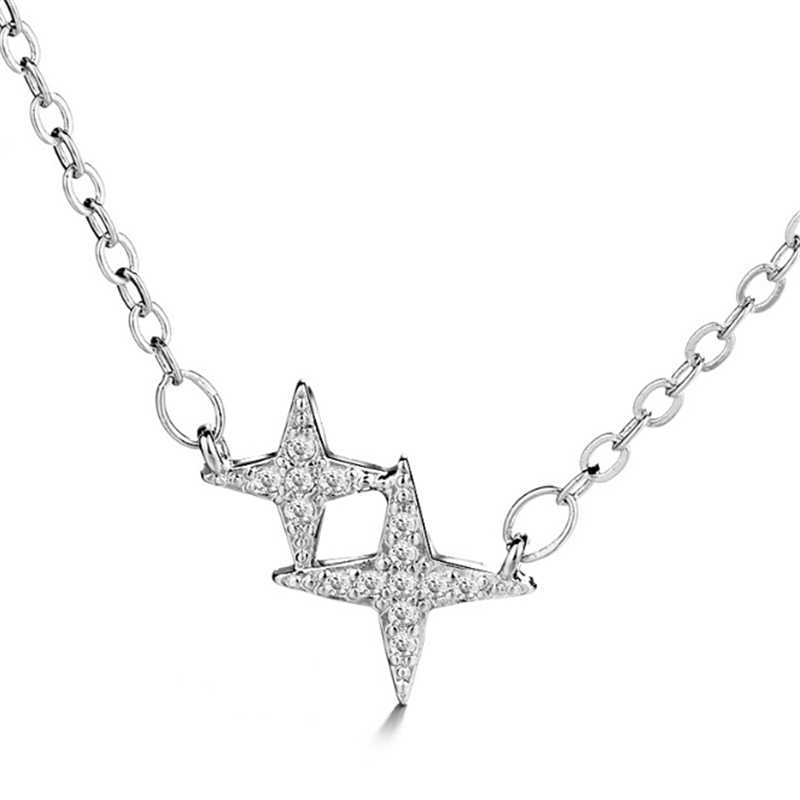 New Arrival Pave Stars Zircon Tennis Dainty Necklaces Pendants 925 Sterling Sliver Wholesale Chocker Necklace Female Girlfriend