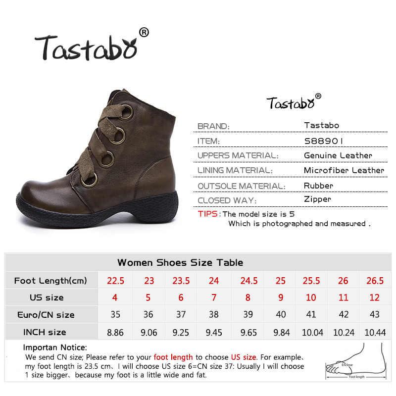 Tastabo hakiki deri bayan yarım çizmeler Martin çizmeler kahverengi siyah S88901 düşük topuk giyim alt günlük bayan botları Retro tarzı
