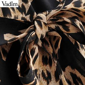 Image 3 - Vadim donne stella della stampa del leopardo del vestito modello animale manica lunga telai di moda femminile casuale di lunghezza del ginocchio abiti abiti QD091