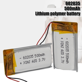 3.7V Lipo cells 602035 500mah Lithium Polymer Rechargeable Battery For MP3 MP4 MP5 GPS Bluetooth headphone Car Tachograph image