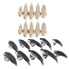 10 Pcs/Set Gothic Punk 3 Sizes Crystal Full Finger Rings Paved Paw Bend Fingertip Fingernail Claw Girls Women Men