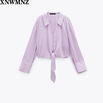 цена на Za Flowing shirt with tie lilac Johnny collar cropped shirt with long cuffed sleeves Front knot detail at the hem Button-up