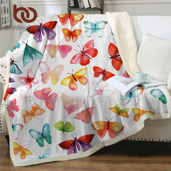 BeddingOutlet Butterfly Sherpa Fleece Blanket Pink Blanket Watercolor Insect Soft Fluffy Blanket Colorful Girly Plush Bedspreads