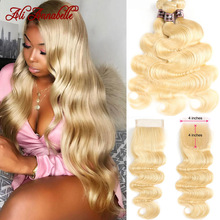 Blonde Bundles Ali-Annabelle Closure Body-Wave Brazilian 613 with Remy Human-Hair Weave