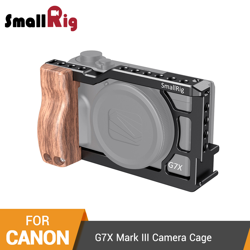 SmallRig g7x Camera Cage With Wooden Side Handle Grip for Canon G7X Mark III Dslr Full Cage With Cold Shoe Mount  2422|Camera Cage| |  - title=