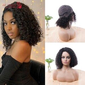 Парик с короткими вьющимися волосами, парики из 100% натуральных человеческих волос Remy для черных женщин, парик Боб 8-20 дюймов, парик плотность...