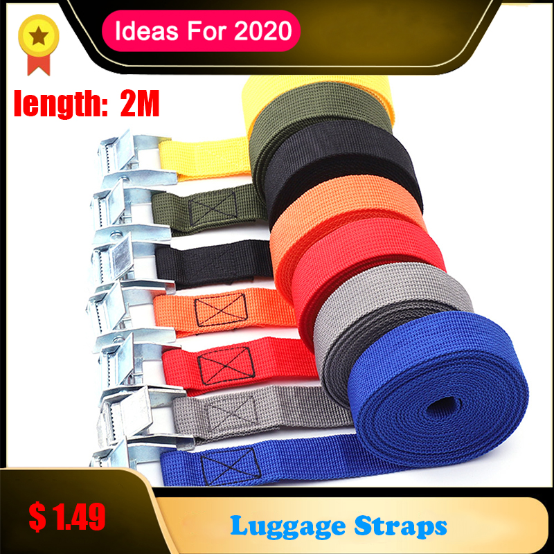 2M Metal Buckle Cargo Straps Tie-Down Belt For Motorcycle Belt Rope Straps Strong Ratchet Luggage Straps Auto Accessories