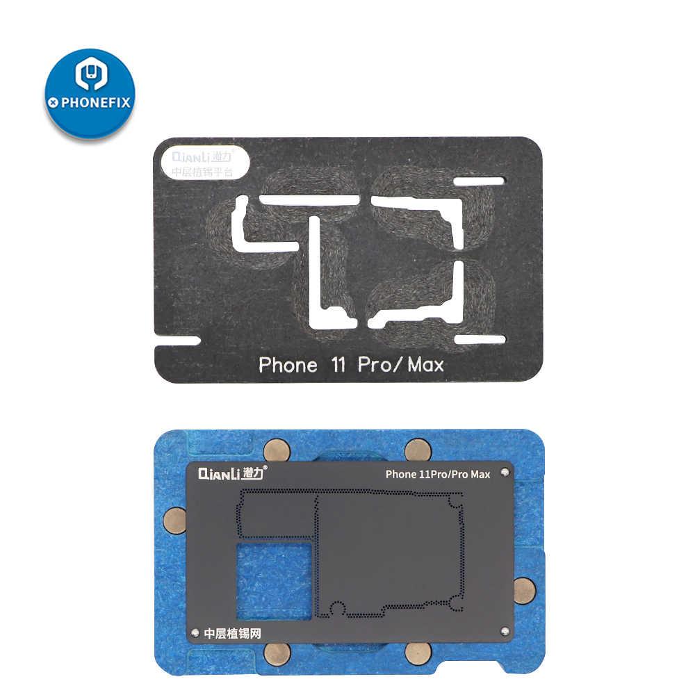 Rede de reparo de placa lógica qianli, fixação de solda intermediária de moldura de reballing plataforma para iphone x xs max 11 pro max