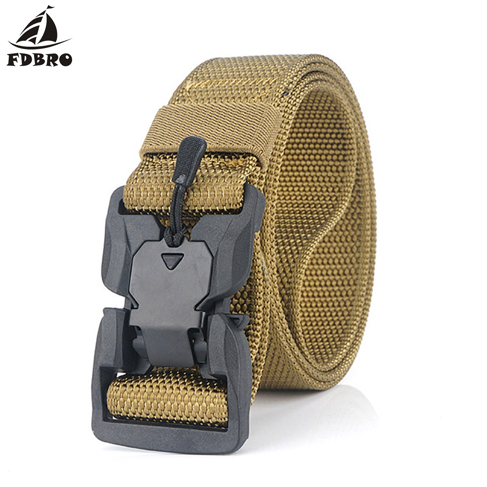 H5bdf504b702b4784b42c92043a8020eaJ - FDBRO Tactical Belt  Magnetic Buckle Adjustable Nylon Military Belt for Man Outdoor Hunting Training Accessories Utility Belt