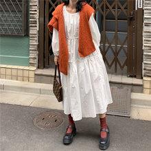 Женское Свободное длинное платье в стиле ретро Осеннее плиссированное